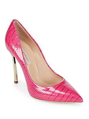 Raspberry Leather Stiletto Pumps