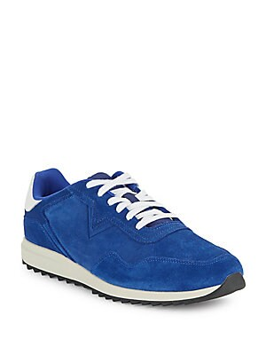 Suede-Trim Lace-Up Sneakers