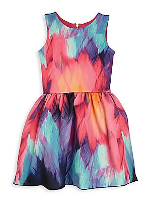 Girl's Flame Scuba Print Dress