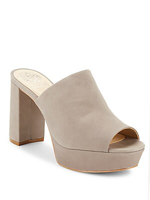 Basilia Nubuck Leather Platform Mules