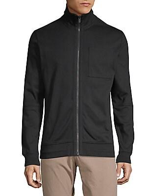HUGO HUGO BOSS Dimon Zip Cotton Jacket in Black
