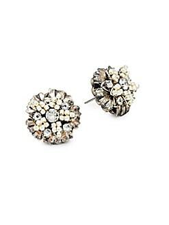 Miriam Haskell - Faux Pearl & White Crystal Flower Stud Earrings