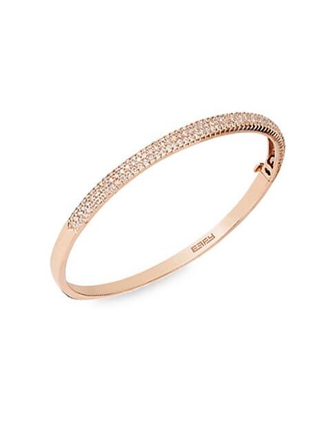 EFFY | Diamond & 14K Rose Gold Bangle Bracelet | Goxip