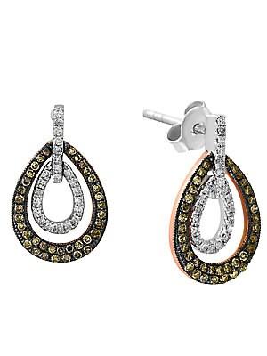 Final Call Diamond, 14K White & Rose Gold Drop Earrings