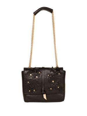 FOLEY + CORINNA Dahlia Flower Chain Shoulder Bag in Black