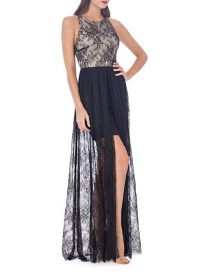 Js Collections  Floral Lace Jewelneck Gown