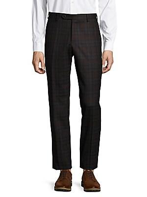 Parker Flat-Front Plaid Pants