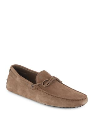 Tod's Suede Tie Drivers In Brown