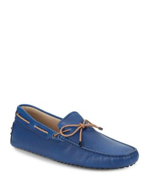 Tod's Leather Tie Drivers In Blue
