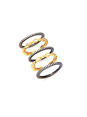 Marquise Gold Plated Stackable Rings