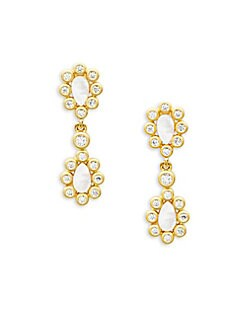 FREIDA ROTHMAN - Mother-Of-Pearl & Crystal Double Drop Earrings