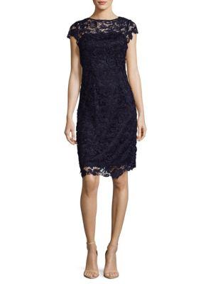 Js Collections  FLORAL LACE SHEATH DRESS