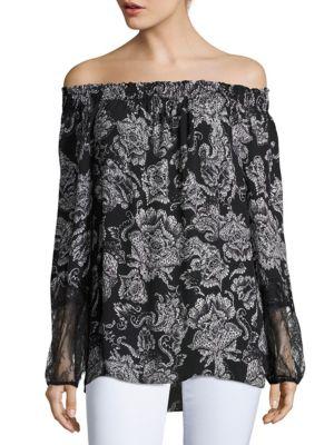Kobi Halperin Silks Kacy Printed Off-The-Shoulder Blouse