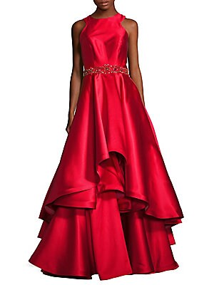 Ruffled Embellished Gown