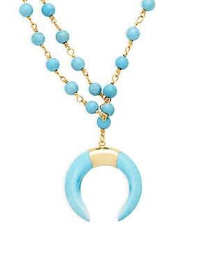 Turquoise Goldtone Beaded Crescent Pendant Necklace