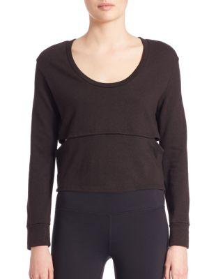LANSTON SPORT Cutout Cropped Sweatshirt in Black