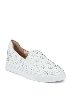 ISA TAPIA Taylor Floral-Accented Sneakers in White Nappa