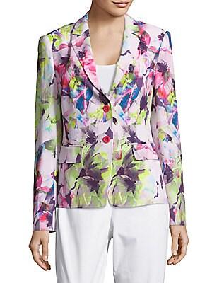 Floral-Print Long-Sleeve Blazer