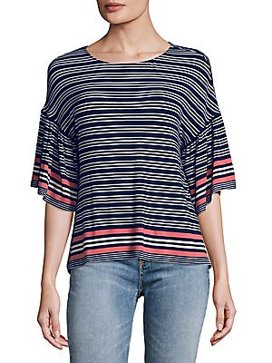 Flared-Sleeve Striped Top