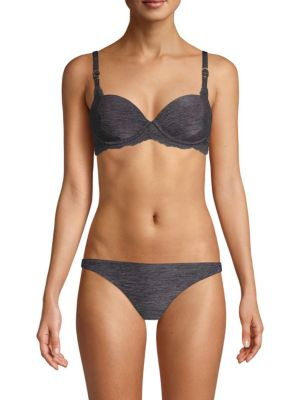 1d63823235178 Stella Mccartney Stella Smooth   Lace Contour Plunge Bra In Grey ...