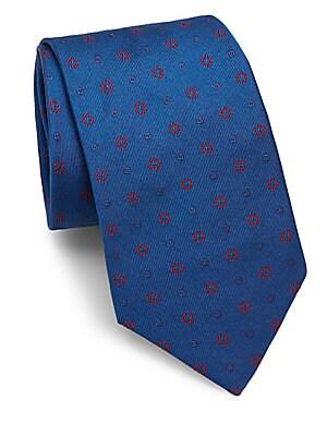 Striped Floral Silk Tie