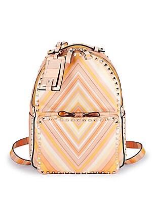 Geometric Print Leather Backpack