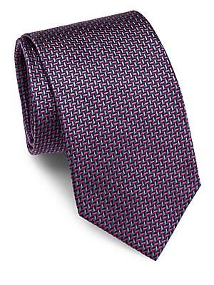 Herringbone Embroidered Raw Silk Tie