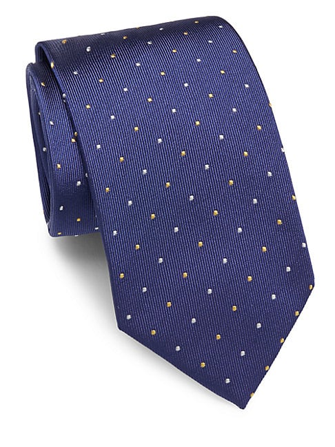 Dot-Motif Raw-Silk Tie