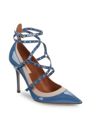 Valentino Leathers Eyelet Patent Leather Pumps