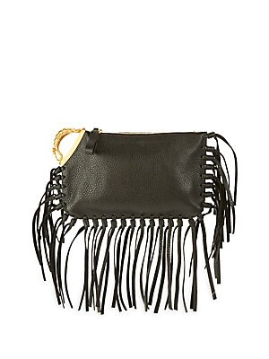 Metallic Scorpion Leather Clutch