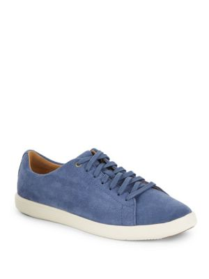 Grand Crosscourt Lace-Up Suede Sneakers in Indigo