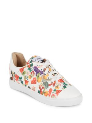 ISA TAPIA Printed Lace-Up Sneakers in White Fruit