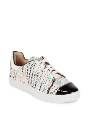 ISA TAPIA Printed Lace-Up Sneakers in White Tweed