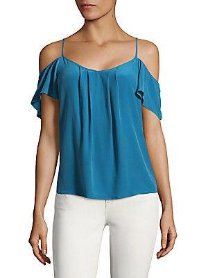 Adorlee Cold-Shoulder Silk Top