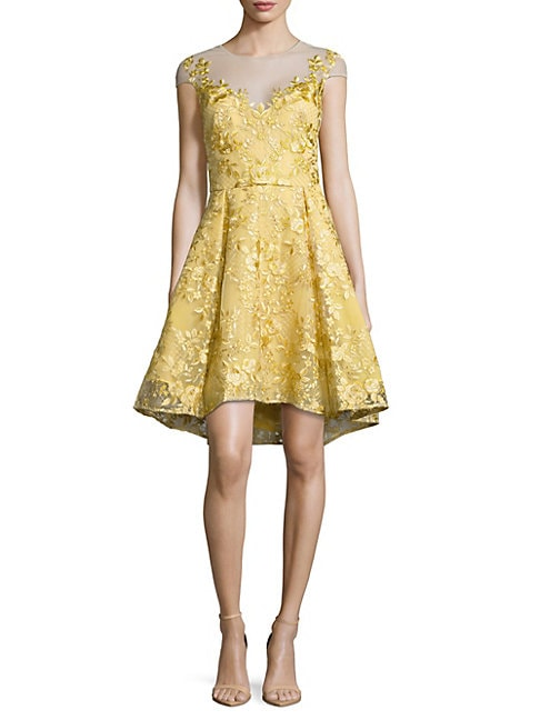 Chartreuse Embroidered Dress