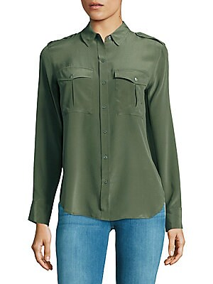 Long Sleeve Silk Military Shirt