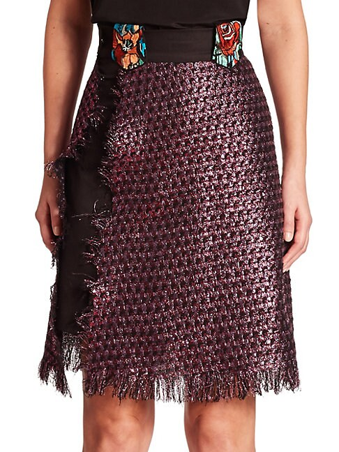 Night Tweed Wrap Skirt