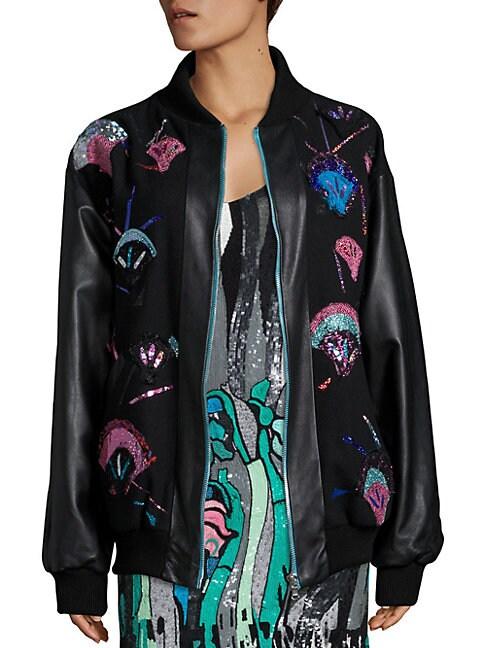Tweed & Leather Applique Bomber Jacket