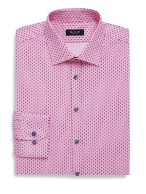 SAND Classic Fit Printed Cotton Dress Shirt in Pink