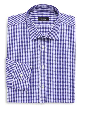 SAND Cotton Printed Dress Shirt in Blue