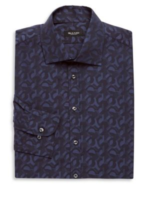 SAND Cotton Printed Dress Shirt in Navy
