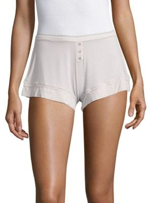 ADDICTION Solid Lace-Trim Shorts, Pearl Grey