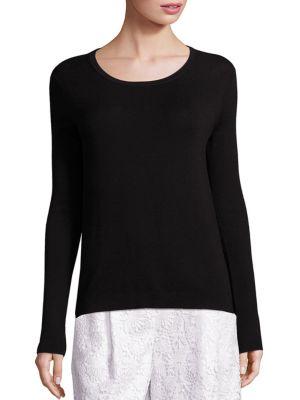Kylee Merino Wool & Silk Blend Top in Black