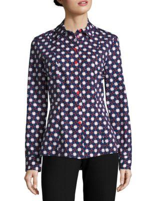 Carven Cottons Cotton Button-Front Blouse