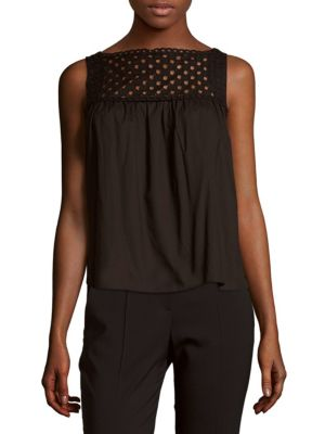 Carven Cottons Solid Cutout Cotton Top