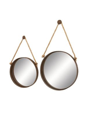 UMA Set Of Two Rope Hanging Mirror in Brown
