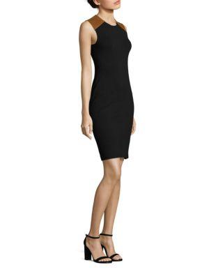 Ralph Lauren Leathers Leather-Trim Sheath Dress
