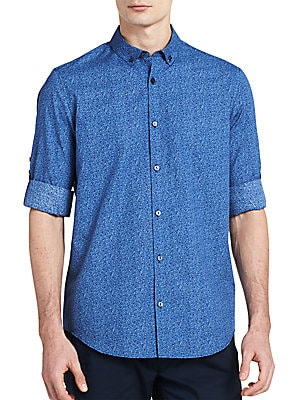 Printed Cotton Button-Down Shirt