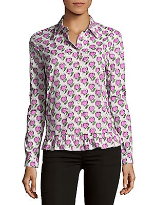 Hearts Poplin Button-Down Shirt