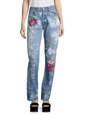 RIALTO JEAN PROJECT Vintage 501 Splatter Rose Boyfriend Jeans in Rose Pink